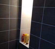 Carrelage SDD terminé, j'ai encore des étagères à mettre dans la niche de la douche.