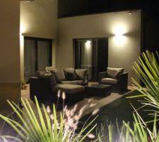 terrasse eclairee de nuit