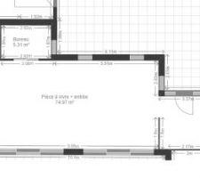 zoom sur le modificatif du plan zone impactee entree centrale et bureau separe par une double porte a galandage en verre