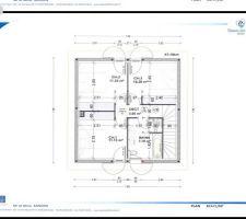 voici le plan cote du r 1 on a modifier la sdb car lagencement du constructeur ne nous convenez pas et ajouter un placard encastrer dans la 3eme chambre