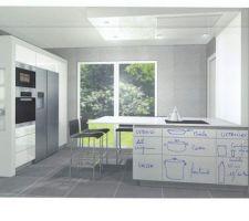 Projet de cuisine, vue depuis l'évier - fond de la cuisine avec le plan de travail / ilôt et espace repas pour 5