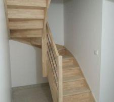 escalier hevea lamelle colle