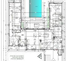 Plan de la maison : 4 chambres,un bureau,salon sejour,buanderie,cellier,cave et garage