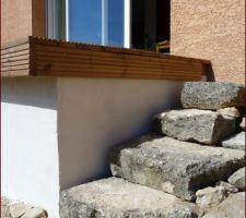 petit escalier provisoire euh hein on en reparlera dans 2 ans lol pour monter sur la terrasse en attendant les marches en bois