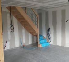 escalier avant cloisonnement du wc