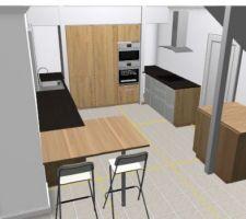 cuisine implantation 1 mur d armoires