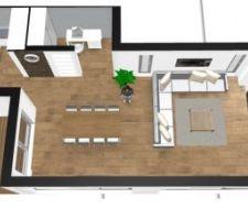 amenagement piece a vivre open space comprenant l entree qui dessert le coin nuit ainsi que le sejour un coin bureau et la cuisine prolongee d une terrasse couverte