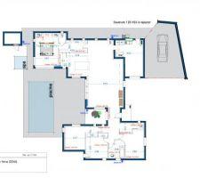 Le plan définitif, avec le local technique de la piscine, l'ouverture faite dans notre salle d'eau, suite à réaménagement de la pièce. Une ouverture ajoutée, aussi, dans la buanderie, façade ouest pour apporter de la lumière naturelle à la pièce.