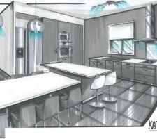 """Nous avons choisi de travailler avec le partenaire de MFC. Une décoratrice """"KAT DEKO"""" qui se trouve à  plaisance du touch. Elle travaille en partenariat avec les cuisines TEISSA, nous avons eu des tarifs très intéressant, ce sont des cuisines de très bonne qualité. Notre cuisine sera de couleur grise laqué avec un plan de travail blanc, nous avons nos électroménagers (frigo américain, plaque induction, nous rajouterons dans la cuisine le mitigeur l'évier double vasque en résine, le four à  micro-onde et le four encastrable et la hotte. Nous avons eu en cadeau la crédence en verre (au niveau de la plaque de cuisson) la poubelle sous évier, et le rangement couvert sous plaque de cuisson. Il y aura un îlot central avec des rangements dessous, et un grand plan de travail qui servira de table, nous avons trouvé cette idée sympa. La peinture sera dans les tons violets clair. La décoratrice nous a proposée de nous faire un book pour la maison. (en photo la cuisine dessinée par KAT DEKO)"""