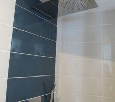 espace douche douche de tete pluie genial le matin et le soir aussi bien sur