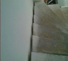 un jour le constructeur nous explique que l escalier doit tenir a un mur la semaine d apres il semble naturel pour lui qu il y ai un espace de 5 cm entre l escalier et le mur il y en aurait toujours un ha on ne savait pas