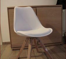 Chaise salle à manger blanc et bois