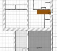 3 chambres et une salle d eau dans le grand carre et un bureau chambre d ami prevu dans l extension