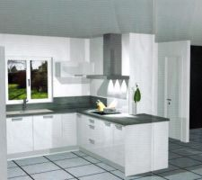 Cuisine by Ixina meubles blancs laqués et plan de travail et retour gris  Perspective 1  à l'extrème droite il manque notre escalier et le mur des toilettes