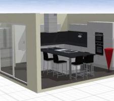 plan en 3d de la future cuisine