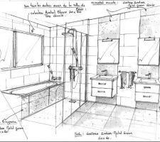 Photo salle de bain salle d 39 eau sol m tal 70 photos for Croquis salle de bain
