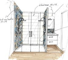 Photos colorker district tradition mix naturel for Croquis de salle de bain