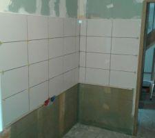 Posé du carrelage murale  de la salle de bain