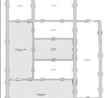 Plan du deuxieme   grenier en sous le faitage (équivalent 3eme)  a ce niveau uniquement une grande chambre en mezzanine fermé visible depuis le 1er et le toit terrasse au dessous de la double chambre   SDB du 1er.