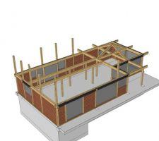 vue 3d du rez de chaussee ou l on peut voir les poteaux et le structure du futur plafond cathedrale de la partie cuisine salle a manger