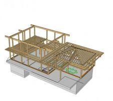 vue 3d de l ensemble de la structure bois ou l on peut voir les solives permettant de retenir les planche et la structure permettant de retenir les avancees de toit plates