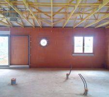 fenetre bois exo dans la chambre et oeil de boeuf 60cm dans le bureau baie vitree alu a galandage couleur brun sable dans le salon 2 80m