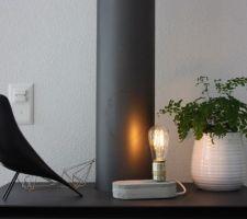 essai diy de lampe en beton
