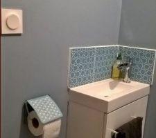 Le dérouleur à P.Q.. Ca peut faire sourire mais il faut y penser !!! Place stratégique !!! Face aux toilettes car sur les côtés, il pouvait gêner en position assise.