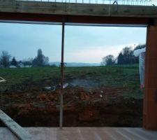 Baie vitrée 350 coté SUD (vu du salon)