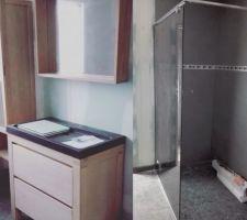 Salle de bain preposé pr percer dans les murs avant peinture