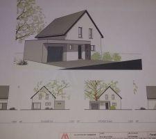 Vue 3D = Façades avant projet - Quelques détails à modifier dont porte de service à l'arriere du garage, porte de garage sectionnelle, et modification de la taille de certaines fenêtres de la maison - dans l'ensemble elle ressemblera à ça - Et franchement on adore !!!!
