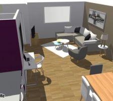 Simulation 3D du sejour. Vue sur le salon.