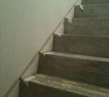 renovation de mon escalier beton plein de moquette toute crado avec saignee pour eclairage led sous le nez de chaque marche