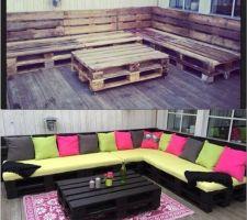 Exemple de salon de jardin en palettes