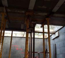 preparation du coulage de l escalier beton