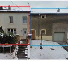 vue de la facade en rouge la partie habitation et en bleu la grange