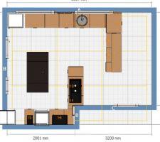 Plan de la partie cuisine de cette pièce ouverte sur la salle à manger