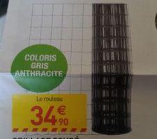 Achat de la clôture! On a ENFIN trouvé du grillage souple en gris anthracite à Leroy Merlin pour un peu plus de 400 euros (grillage, piquets...).