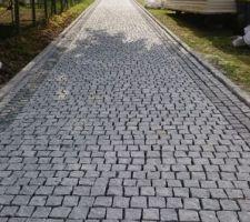 Allée en pavé en granit manque les joints.