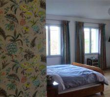 Nous avons fait juste le mur de tête de lit, plus un mur de l'antichambre pour rappeler les rideaux ( côté dressing )