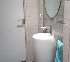 Lave Mains Totem, Robinet et Miroir achetés à Castorama