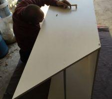Préparation du caisson avant le tapissage