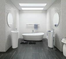 Carrelage salle de bain suite parentale sur 1 pan de mur   wedi à carreler