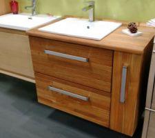 meuble salle de bain en teck avec plan de travail plein pour vasque a poser