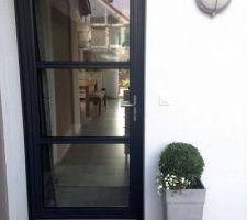 Porte d'entrée / pot buis et passiflore