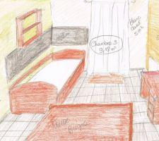 Chambre comprenant un lit tiroir, une bibliothèque et un bureau, une ardoise murale