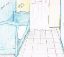 Lit bateau repeint de la même couleur que le mur,  armoire à jouets repeinte assortie aux bleus des murs.