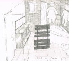 faience noire et blanche aux murs baignoire d angle avec tablier blanc meuble cube de ikea noir avec miroir assorti et 2 vasques monsieur madame peints aux murs en gris metal