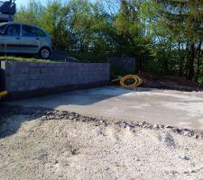 Mur du garage en agglo coffrants + Delta MS + drainage