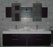 Meuble de 160 cm avec double vasque, miroirs assortis